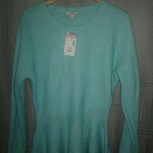 Bongo Teal Knitted Peplum Sweater